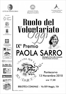 Locandina premio Paola Sarro 2010